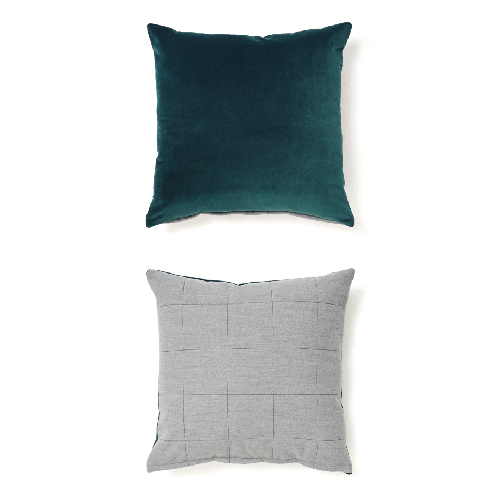 VELVET STITCH CUSHION_DEEP GREEN