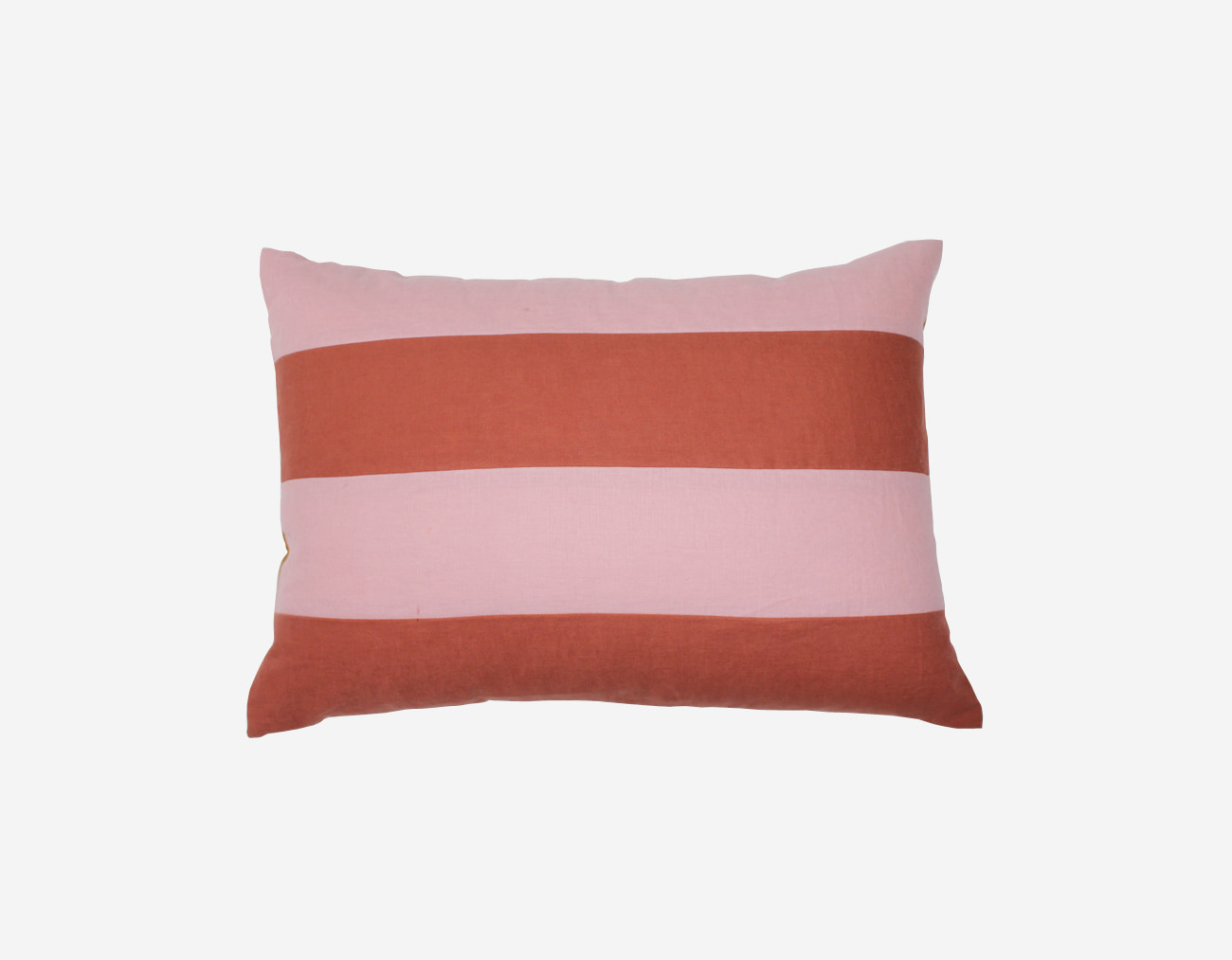 LINEN BOLD STRIPE PILLOW - PINK
