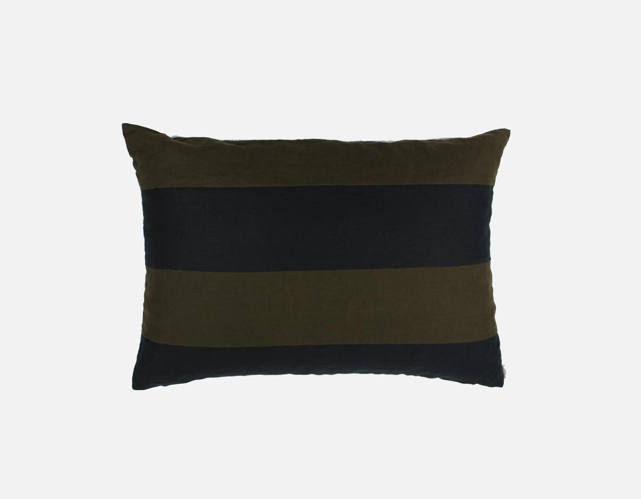 LINEN BOLD STRIPE PILLOW - BLACK